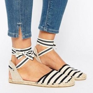 Soludos Black & Cream Striped Ankle Tie Espadrille